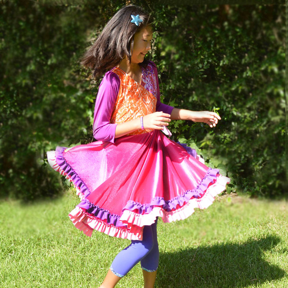 Wrap and ruffle dress for girls